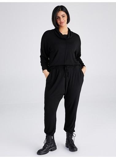 Faik Sönmez  Degaje Yaka Örme Sweatshirt 61801 Siyah